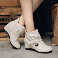 Women Hidden Wedge Heels Pleated Pull On Bow Knot Metal Decor Ankle Boots Shoes