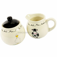 Home Farm Ceramic Cream Jug & Sugar Bowl Set Cartoon Animal Cow Chicken Duck