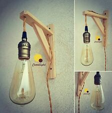 LAMPADA DA PARETE Minimal Stile Vintage,Applique,Comodino,Salotto,legno,rustico
