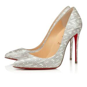 Christian Louboutin Pigalle Follies 100 Patent CL White Silver Heel Pump Shoe 36