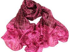 "Women's 100% Satin Silk Scarf / Pink  / Check / 66"" X 36"""