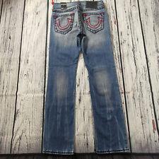 Men's True Religion Jeans 33 x 33 Ricky Super T Straight Leg Blue RRP £250 BNWT