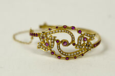 1800's Victorian 18k Gold Elegant Rose Cut Ruby & Seed Pearl Bracelet