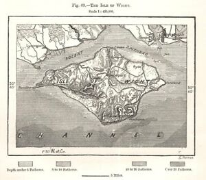 The Isle of Wight. Sketch map 1885 old antique vintage plan chart