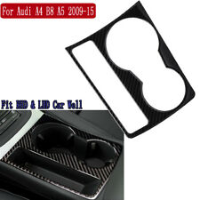 Carbon Fiber Interior Cup Holder Panel Decorative Trim For Audi A4 B8 A5 2009-15