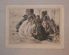 """Etienne Alphonse Dinet (1861-1929) """"Jeux de Fillettes"""" Lithograph in Colours"""