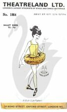Reproduction Theatreland Ltd Tutu Ballet Costume Sewing Pattern Size 6-17 yrs
