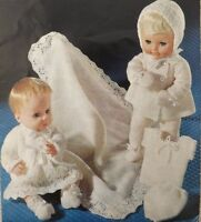 "Dolls Vintage Knitting Pattern Coat Dress Bonnet Bootees Mittens  14-16"" S2461"