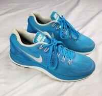 NIKE Women's Sz 8.5 Lunarglide 4 Blue White Silver Running Shoes 524978-404