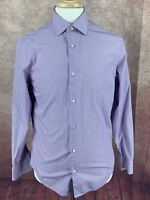 Banana Republic Men's Slim Fit Non Iron Long Sleeve Purple Stripe Shirt Medium