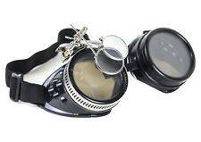 Steampunk Victorian Welding Black Goggles 2X Lens Scissors Punk Goth Cosplay