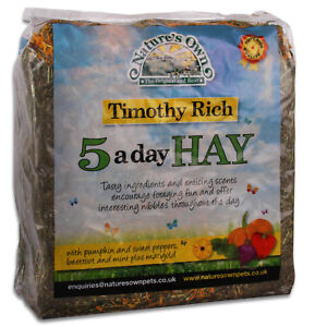 Nature's Own 5 A Day Timothy Rich Bedding Food Hay Rabbit Guinea Pig High Fibre