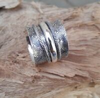 Solid 925 Sterling Silver Spinner Ring Meditation Statement Ring Size M462