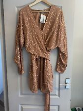 BNWT Asos Design Tall Mini Dress With Batwing Sleeve & Sequins Size 14 Copper