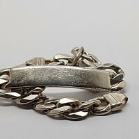 "Sterling silver solid 925 bracelet chain bangle Az959-33 9"" heavy identity ID"