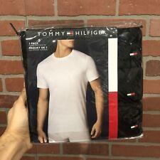 New Black Tommy Hilfiger Crew Neck 3 Pack Short Sleeve Tee Men Size M & Large