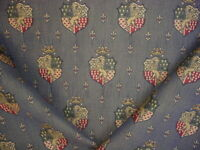 4Y Lee Jofa 2003179 Guinevere Weave Indigo Lion Coat of Arms Upholstery Fabric