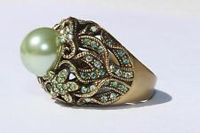 HEIDI DAUS Fashion Designer Pearl Blue Green Swarovski Crystals Ring Size 9