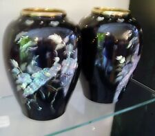 Pr. BLACK ENAMEL cabinet vases with mother of pearl inlayed birds and flowers