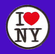 I LUV LOVE NEW YORK NY USA LOGO Round Embroidered Iron on Patch Free Postage