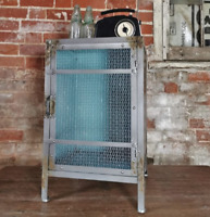 Industrial Cabinet Metal Storage Locker Container Mesh Grey Unit Bedside Table