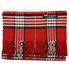 Men Women Unisex 100% CASHMERE Scarf Classic Tartan Stripe Wool Wrap SCOTLAND