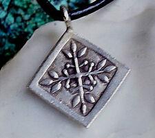 Klein Silber Anhänger Verspielt Floral Raute Eckig Dick 2cm Amulett Lebensbaum