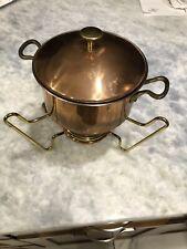 Vtg Swiss PERK Fondue Set Brass Stand & Burner & Copper Clad Pot w/ Teak Handle