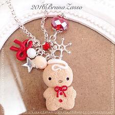 Braccialetto Bracciale Omino Biscotto Natale Cute Bijoux Fimo Polymer Clay Charm