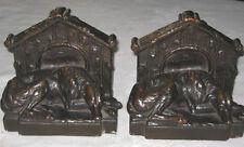Antique Galvano Bronze Clad Greyhound Whippet Dog Home Sculpture Statue Bookends