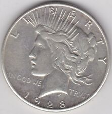 USA 1928S SILVER PEACE DOLLAR IN VERY FINE CONDITION