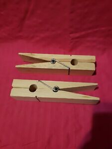 2 Giant Clothes Pins, Each Natural Wood Clip is 9.75 Inches Long