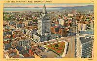Linen Postcard CA J356 City Hall and Memorial Plaza Oakland Birds Eye View Piltz