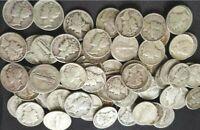 $1.00 Face Value: Mercury Dimes 90% SILVER 'Circulated' Coins