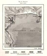 Penzance Bay. Marazion. Cornwall. Sketch map 1885 old antique plan chart