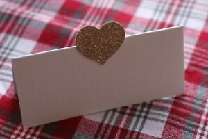 10 WHITE NAME PLACE CARDS WITH CHAMPAGNE GOLD GLITTER HEART