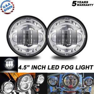 2x 4.5 Inch Chrome LED Spot Fog Passing Light Lamp For Harley Davidson Motor