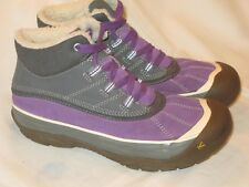 Keen Casual Leather Mid Boots Gray Purple Eur 35 Kids Sz 3 or Women Sz 5