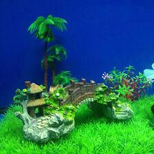 New Aquarium Decoration Bridge Pavilion Tree For Fish Tank Resin Ornaments Gifts