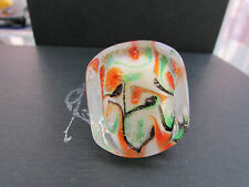 A BIG CHUNKY WHITE,ORANGE,GREEN & BLACK MURANO/DICHROIC STYLE GLASS RING. (3).