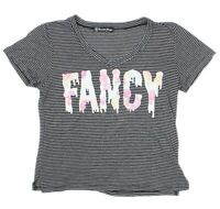 """RECYCLED KARMA Womens Black Striped """"FANCY"""" Spell Out T-Shirt Size Large"""