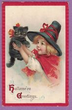 0813V HALLOWEEN VTG PC A/S BRUNDAGE GIRL WEARS WITCHES HAT HOLDS BLACK CAT 1913