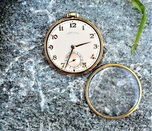Vintage 921 Hamilton 14 Gold Filled Pocket Watch 21 Jewel 1936-1954 H28526 WORKS