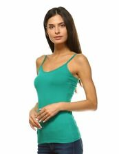 ANNA WOMEN'S CAMIS TANK TOP STRETCH CAMISOLE LAYERING PLAIN TEE SOLID GREEN