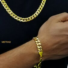 30 Inch 14K Gold Cuban Link Curb Chain Diamond Cuts With Bracelet