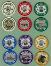 Presidents-Currency/Money gambling poker chips set (6),mint