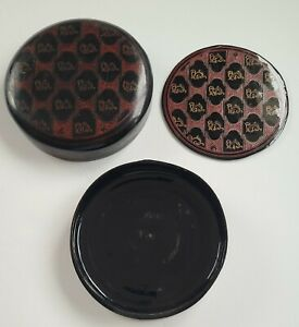 Vintage Burmese Laquer Box And Coaster Decorated With Mythological Creature