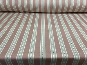 Holm Stripe Panama Cotton Blush Pink 140cm wide Oslo Curtain Fabric