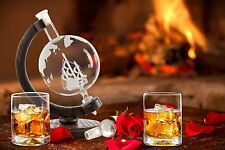 ELEGANT SPINNING inciso Globe whiskey decanter CON NAVE E LEGNO Stand - 650 ML
