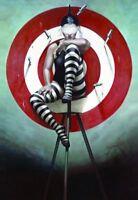 ZOPT780 handmade painted girl in bull's-eye&knives art OIL PAINTING on CANVAS
